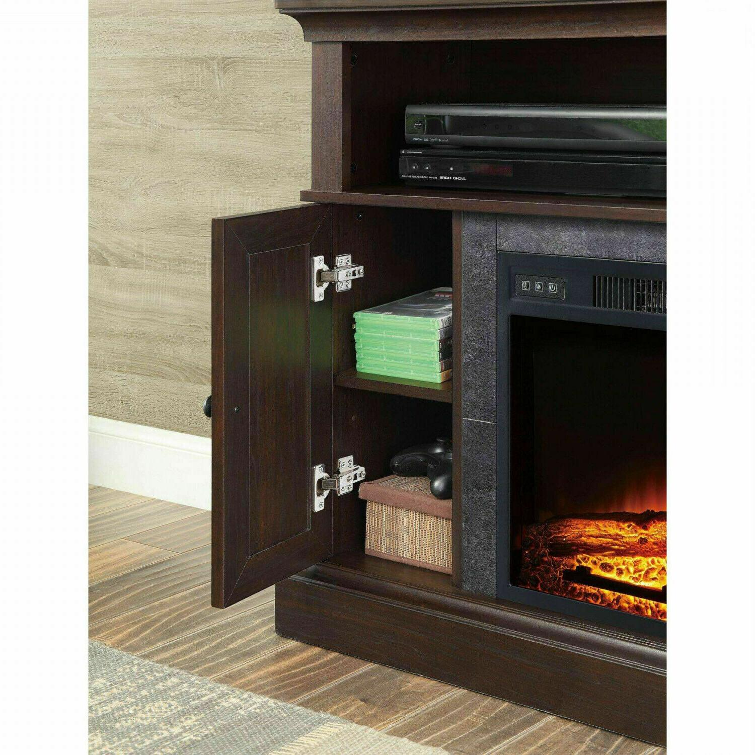 Electric Fireplace Stand Media Wood Remote