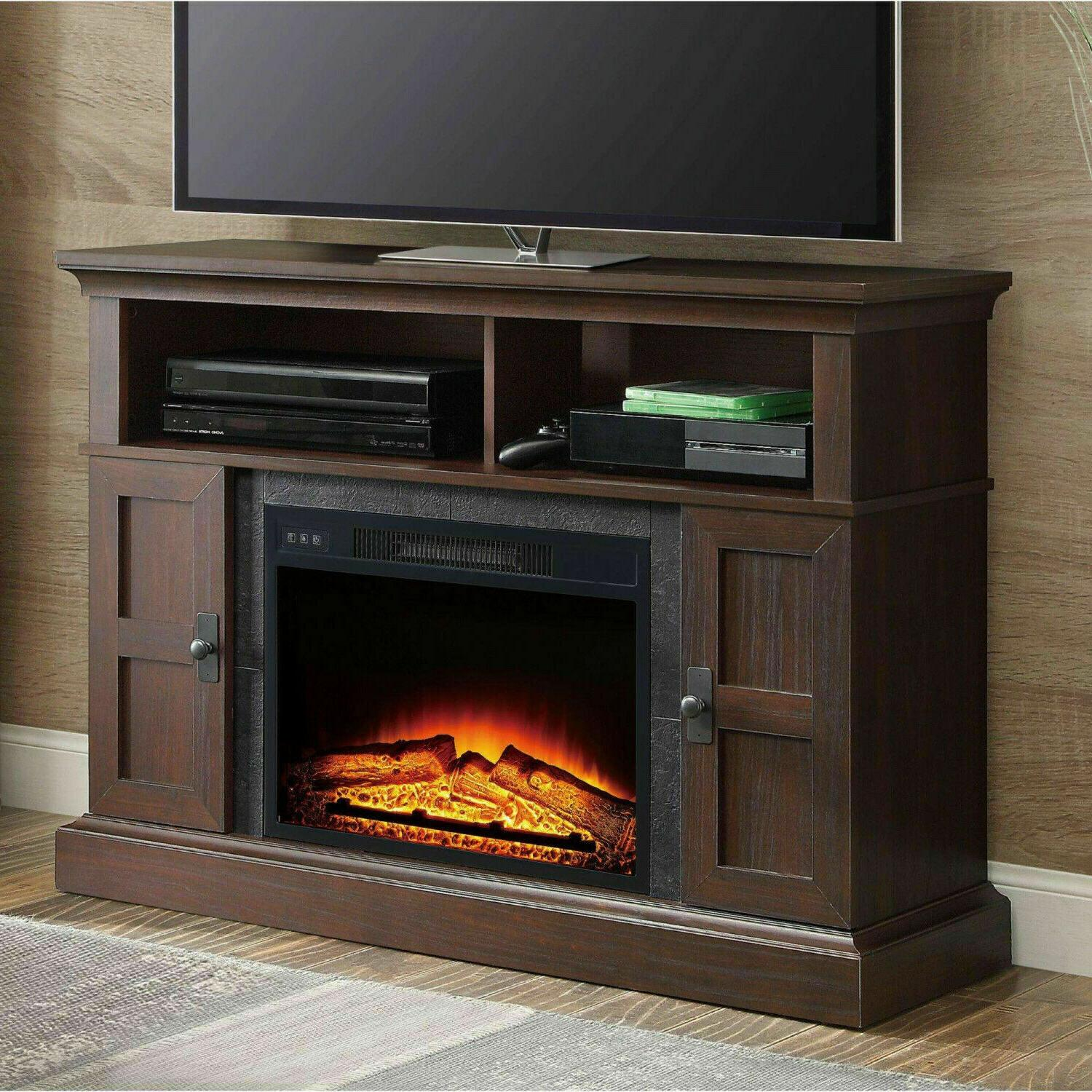 Electric Fireplace Stand Entertainment Media Wood