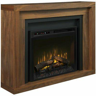 electric fireplace and mantel with log set