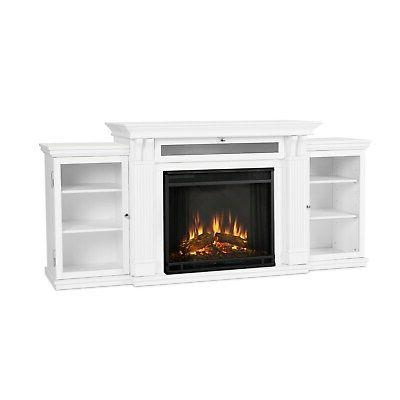 electric fireplace calie entertainment center heater white