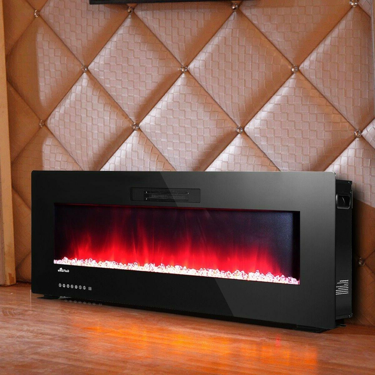 """Electric Fireplace 50"""" LED Digital Flames Recessed Remote Co"""