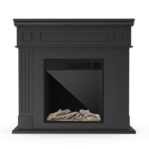 Electric Fireplace Heater LED Logs Wood Mantel Cabinet