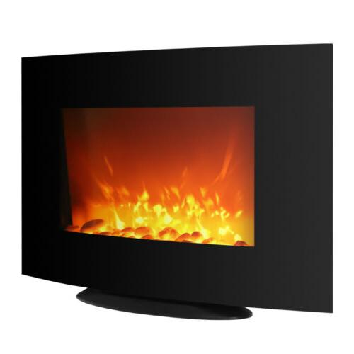 35 Inch Wall Mount Electric Fireplace Black Curved Panel Ind
