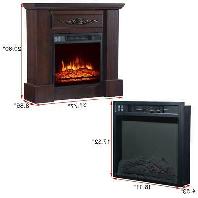 Electric Fireplace Infrared Heater LED Flame Wooden Cabine