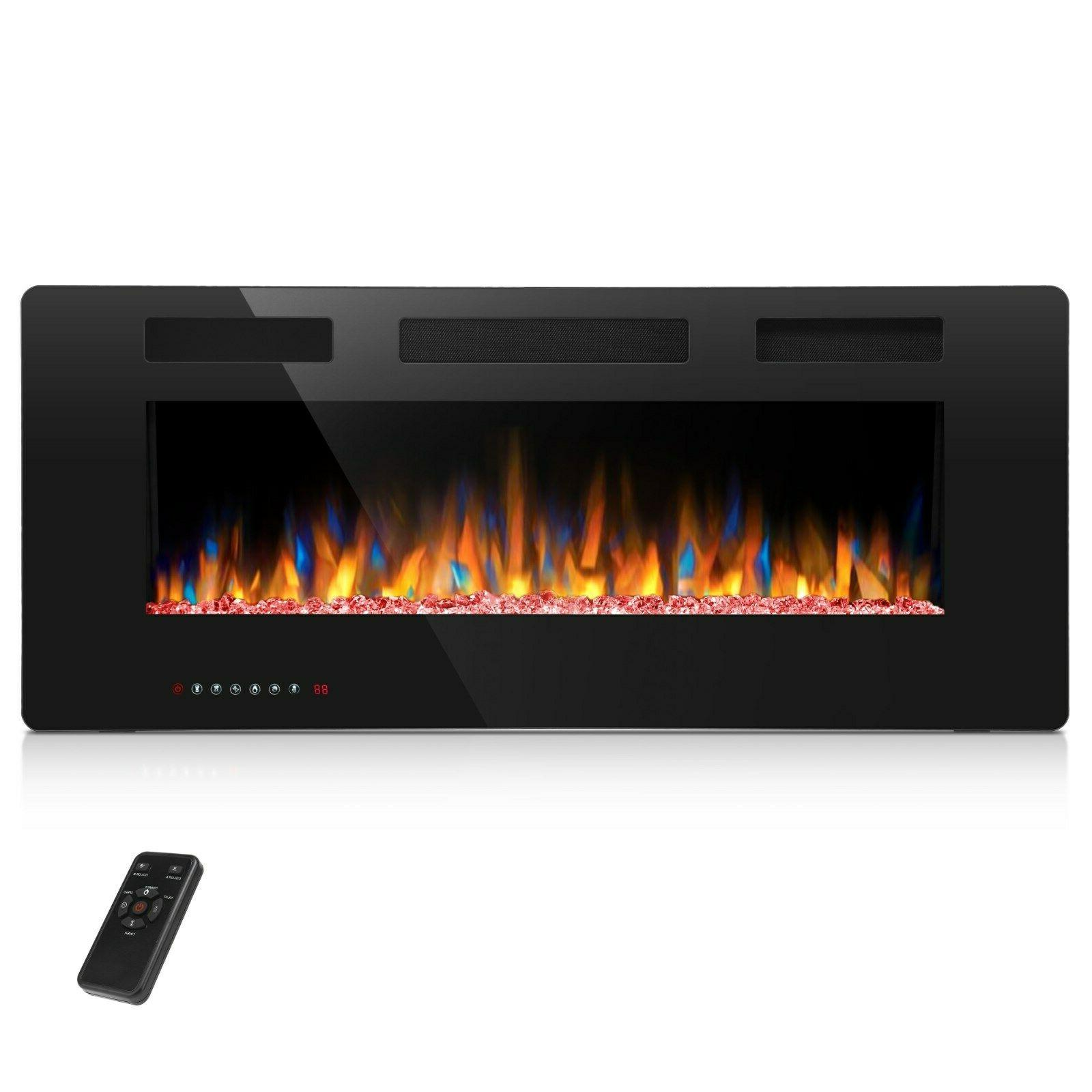 electric fireplace insert wall mounted in wall