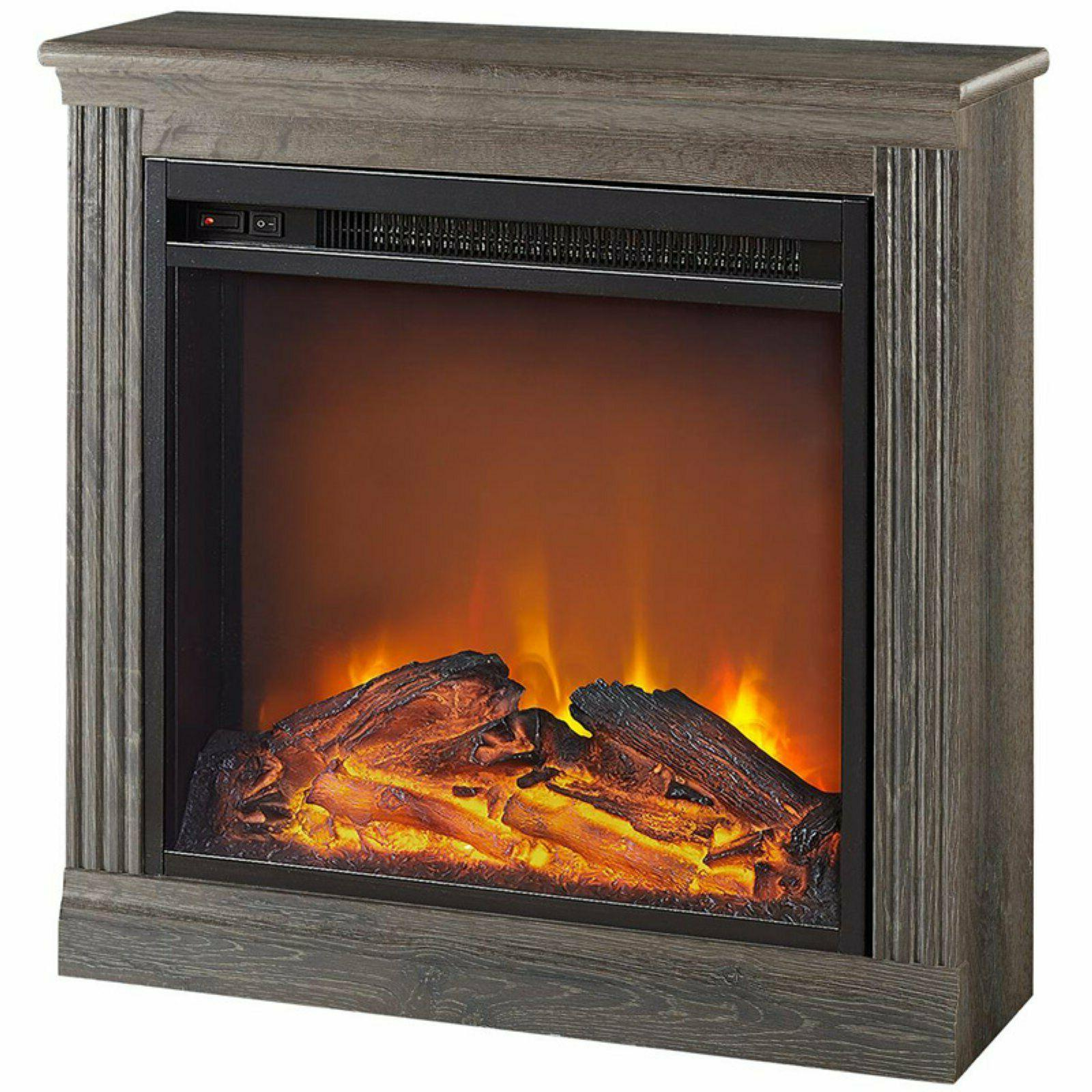 Electric Fireplace Mantle LED Flames Heater Realistic Fire C