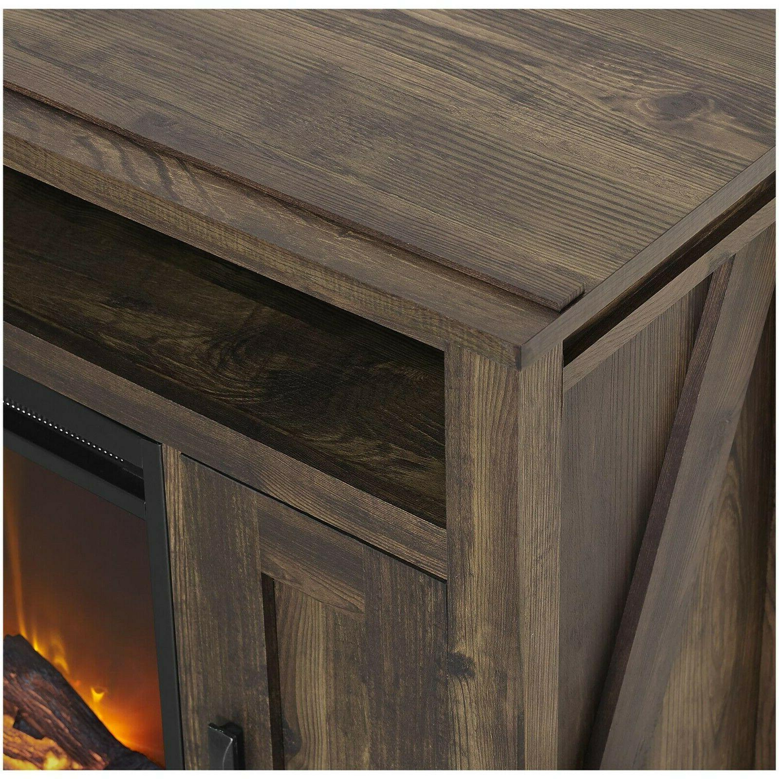 Electric Fireplace Console Entertainment Unit Room Home