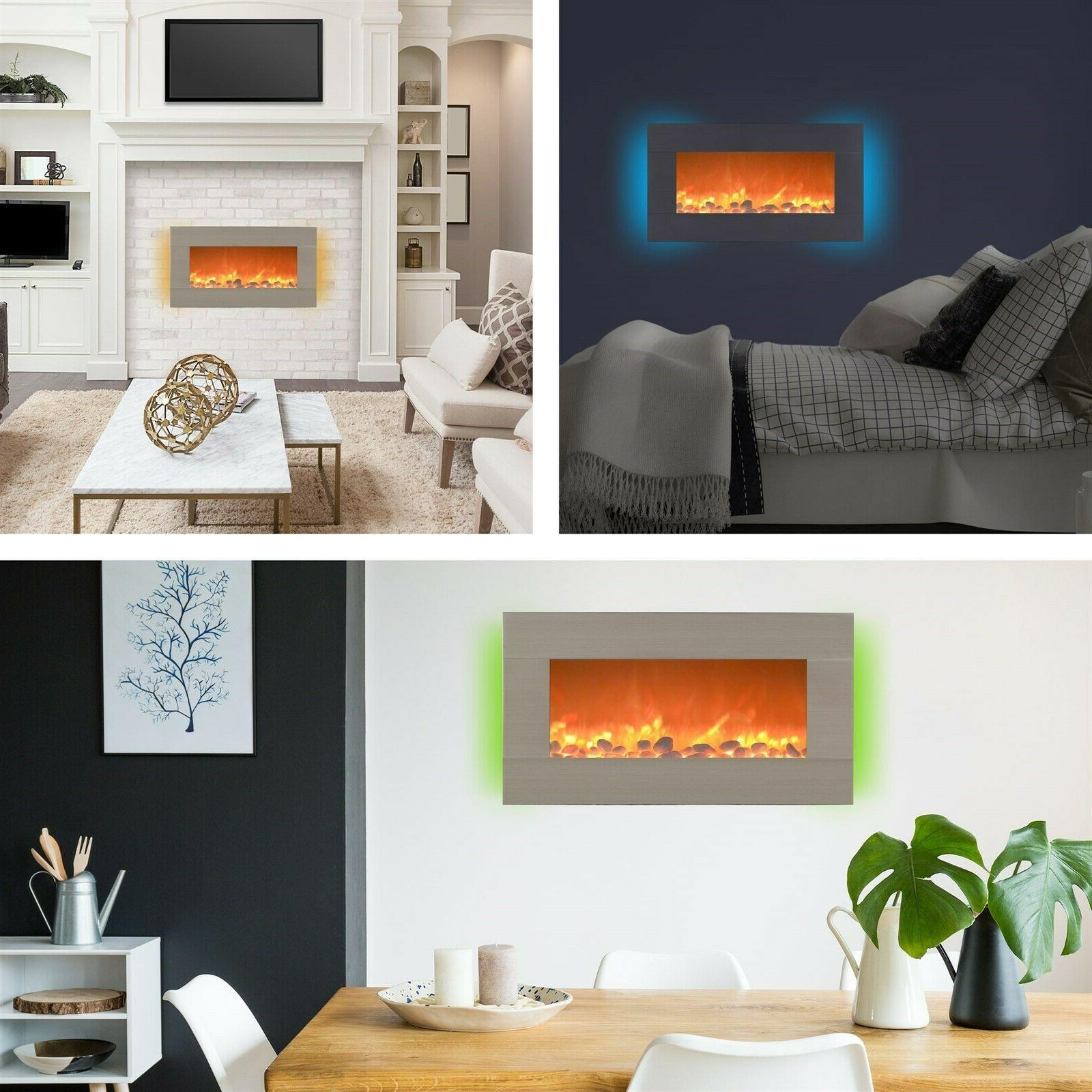 Electric Fireplace Wall Mounted Adjustable Remote Inch Timer