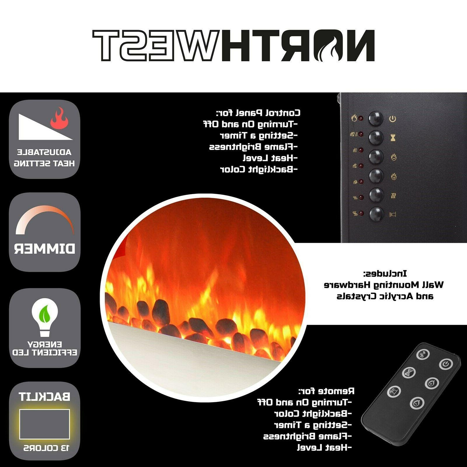 Electric Fireplace Adjustable Inch W