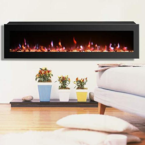 GMHome Fireplace Wall Mounted Crystal Stone Effect 9 w/Remote,