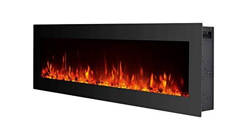 GMHome Electric Fireplace Wall Heater Crystal 9 Fireplace, w/Remote, 1500/750W, Panel