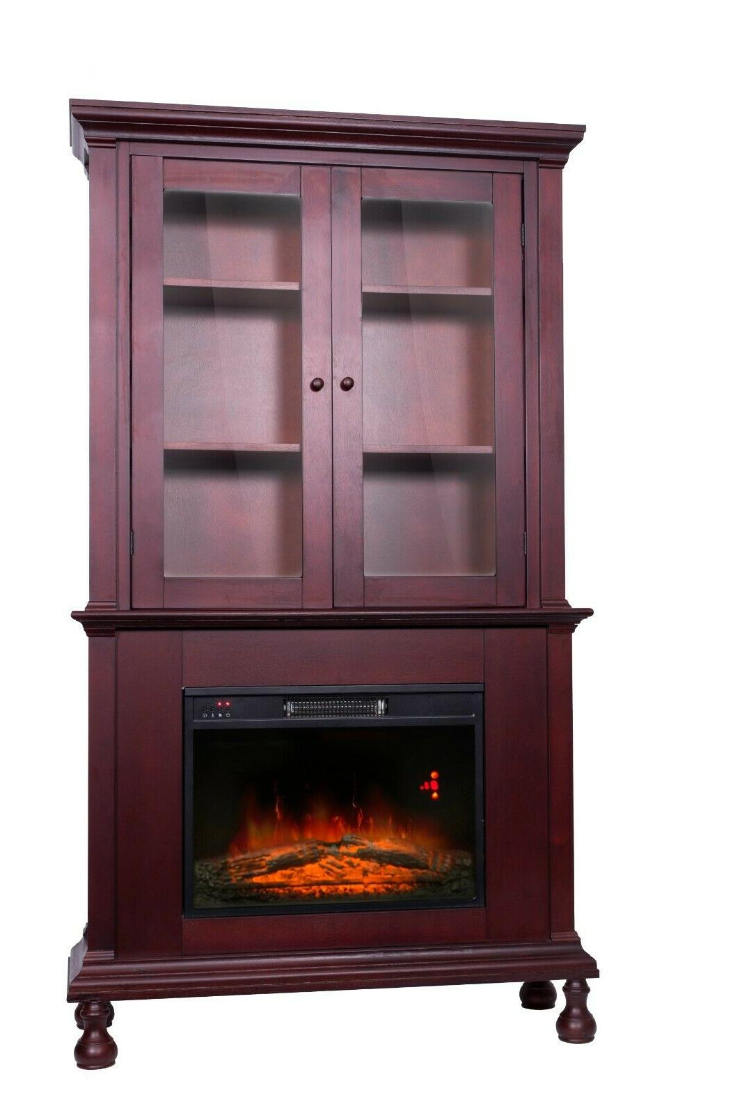 Electric Fireplace Tall Mantle Cabinet Shelves 2 US