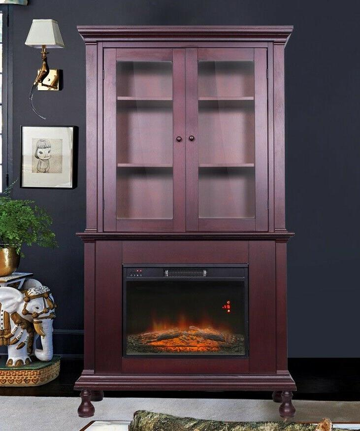 Electric Fireplace Tall Cabinet Shelves US