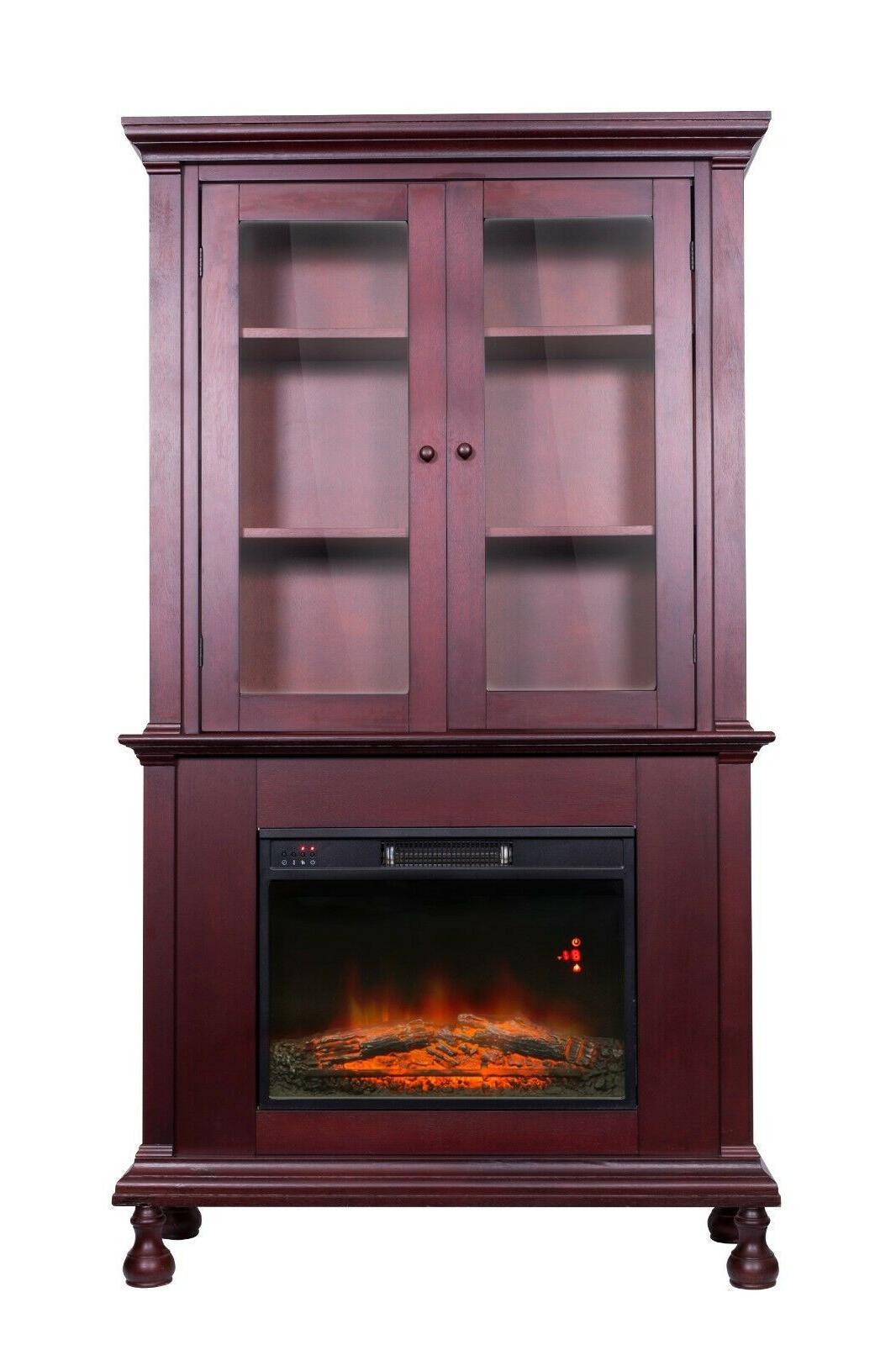electric fireplace with tall mantle led flames