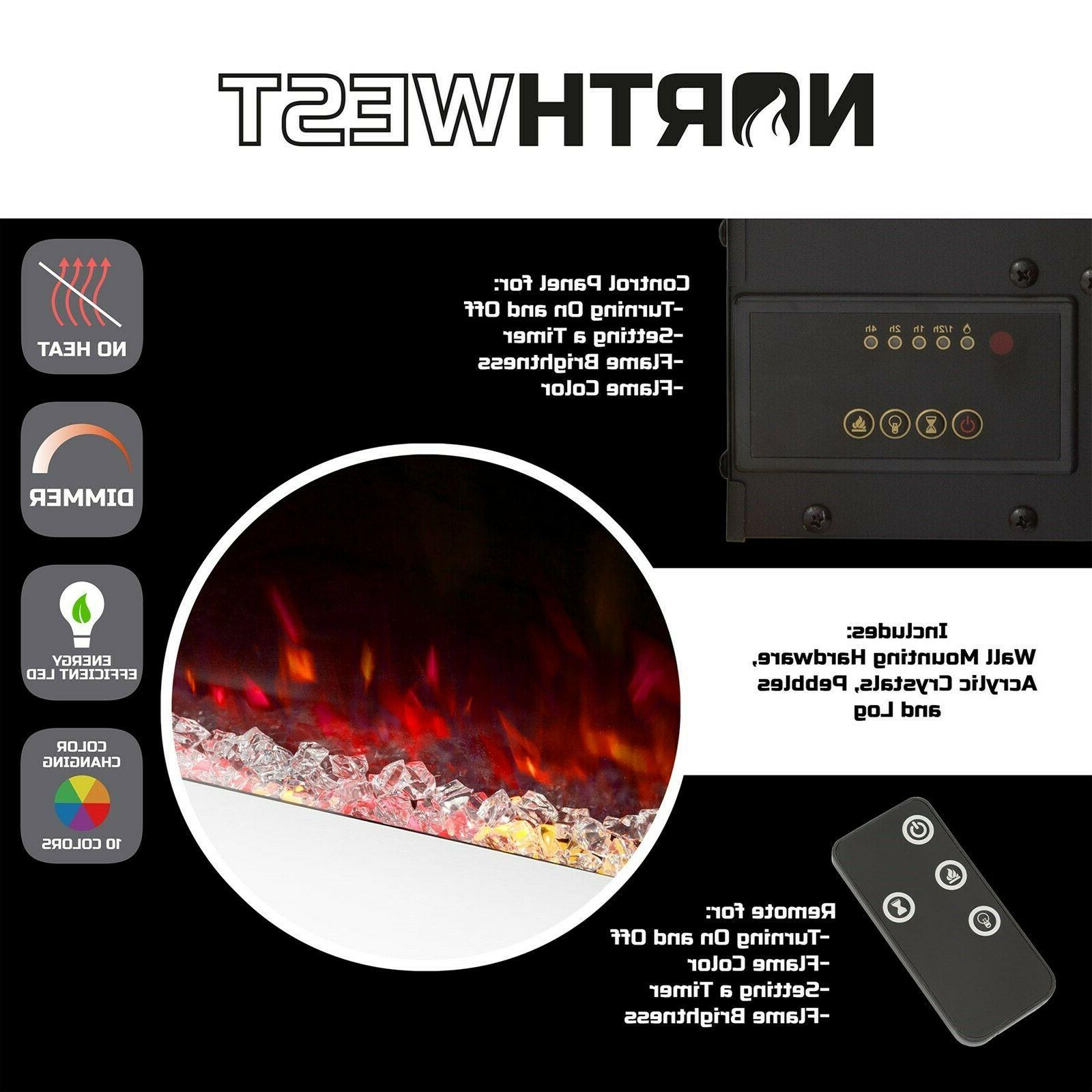 Electric Heat Fireplace Color Changing Wall Mount Inch