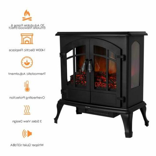 electric wood fireplace stove realistic flame heater