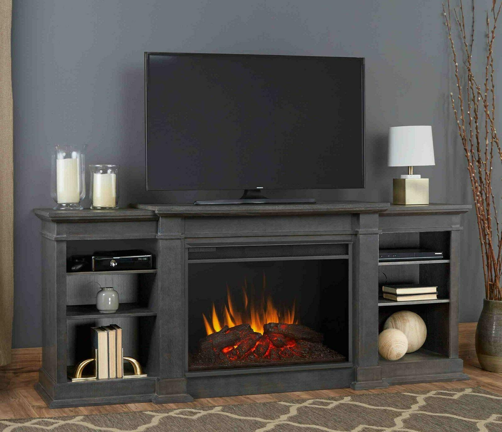 Eliot Grand Entertainment Unit with Electric Fireplace - Bla