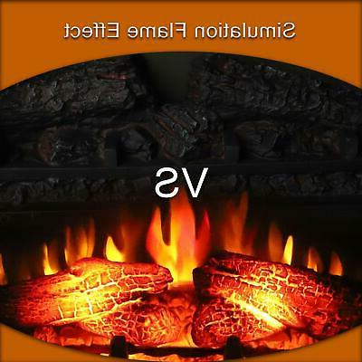 """Embedded 27.1"""" Electric Fireplace Insert Heater Log Flame"""