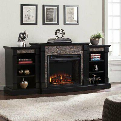 faux stone electric fireplace in black