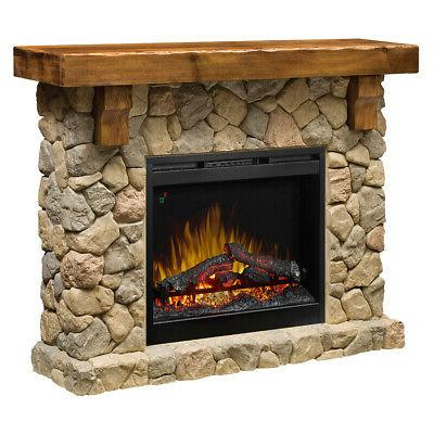 fieldstone electric fireplace and media console mantel