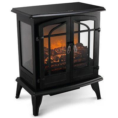 "25"" Freestanding Electric Fireplace Heater Stove Doors"