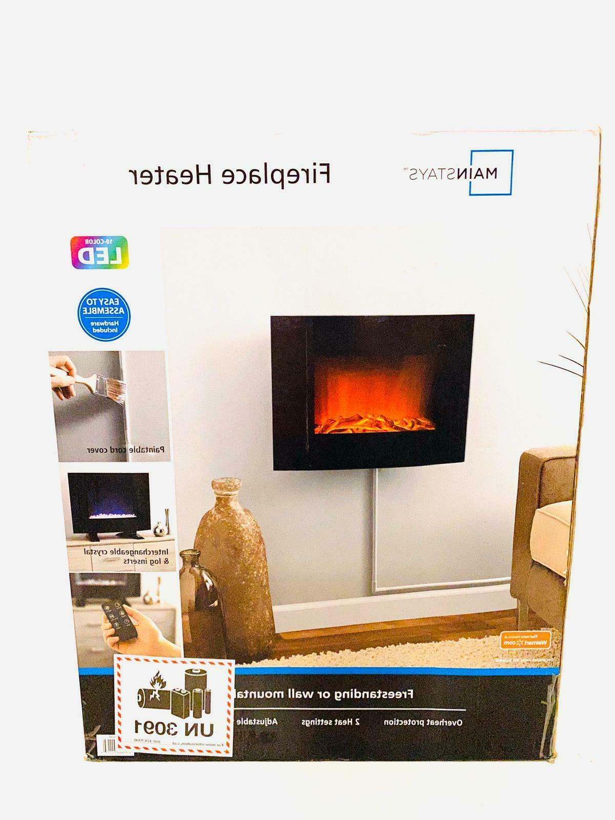 freestanding or wall mounted fireplace heater black