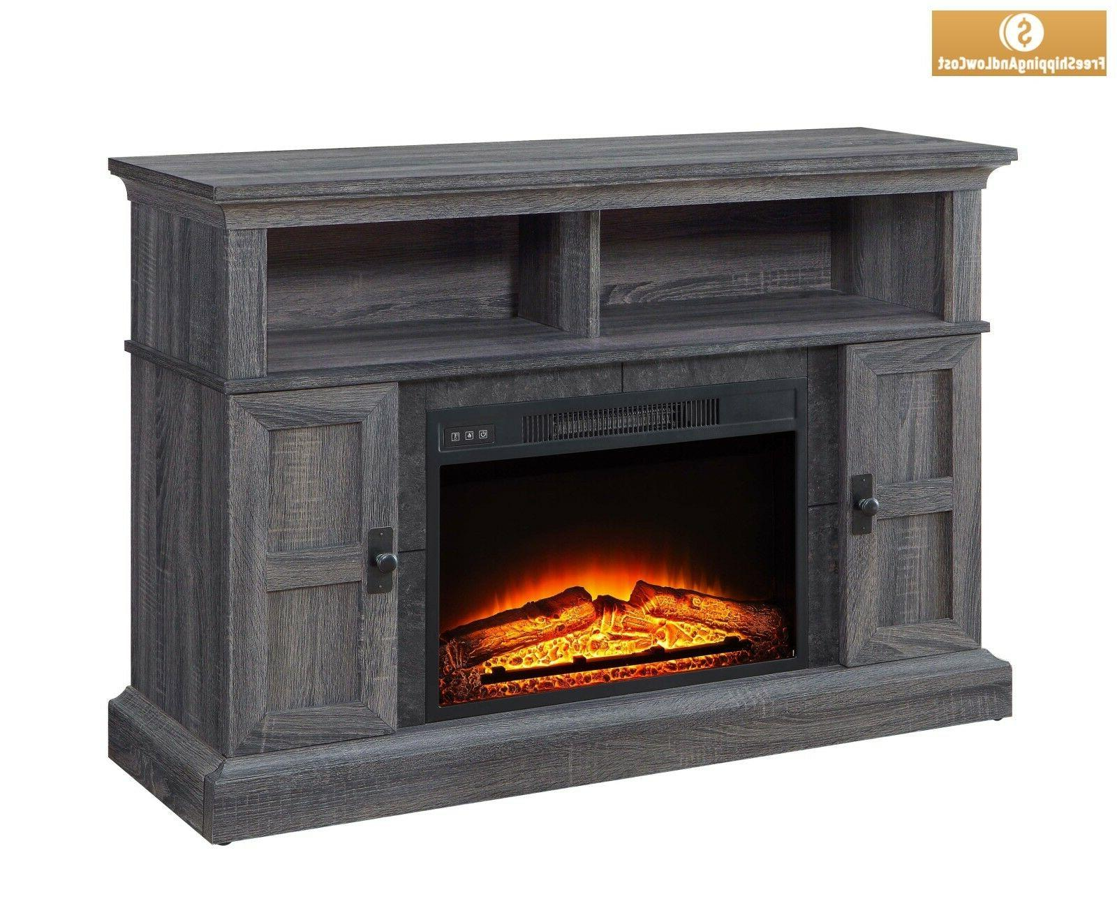 "55"" Rustic Fireplace TV Center w"
