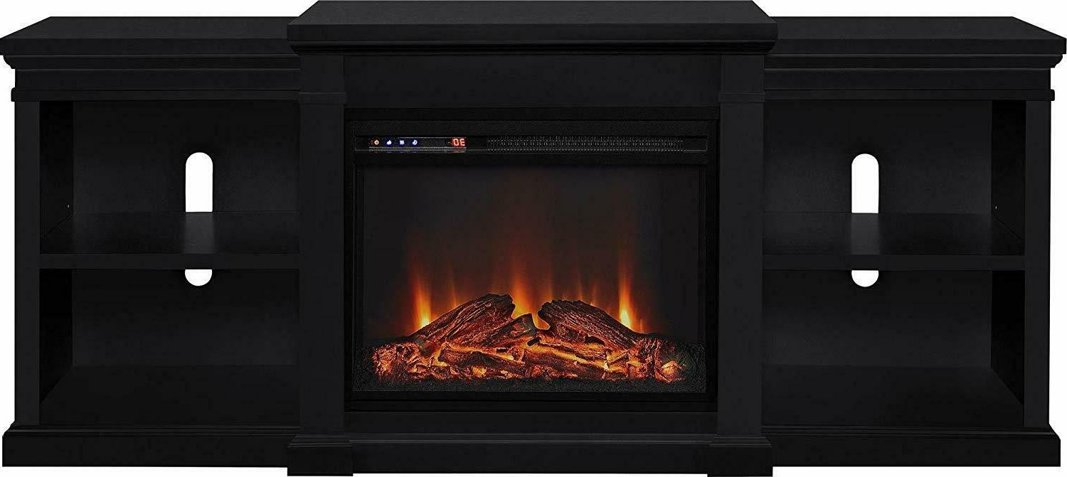 Ameriwood Fireplace TV TVs up Black