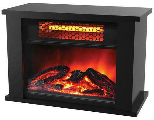 Infrared Space Heater Tabletop Electric Fireplace Wood Real