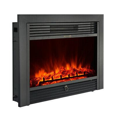 IKAYAA Electric Fireplace Insert Heater Glass View Adjustabl