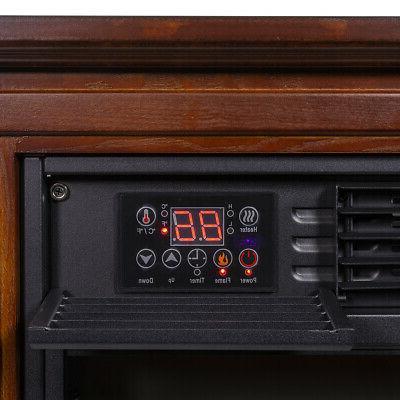 Large Electric Fireplace Heater Oak Finish w/