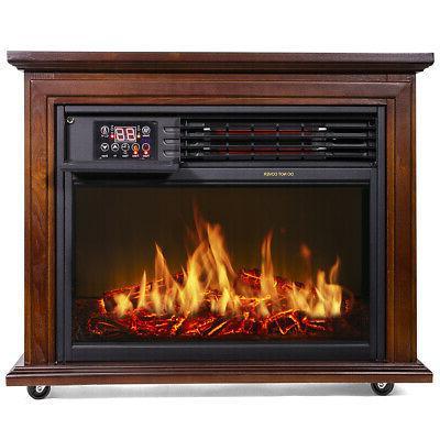 Large Fireplace Heater Oak Finish w/