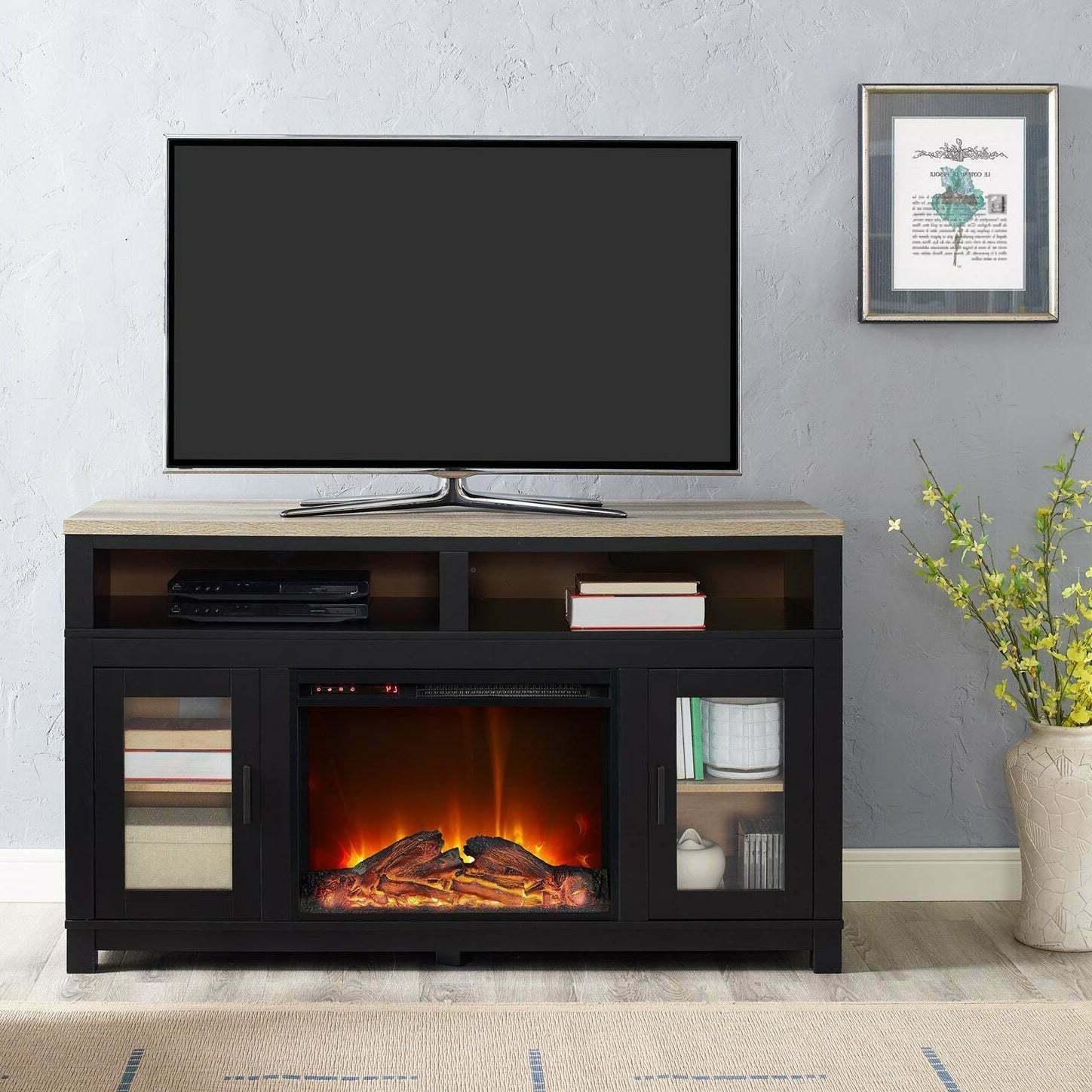 led electric firebox with heater and bluetooth