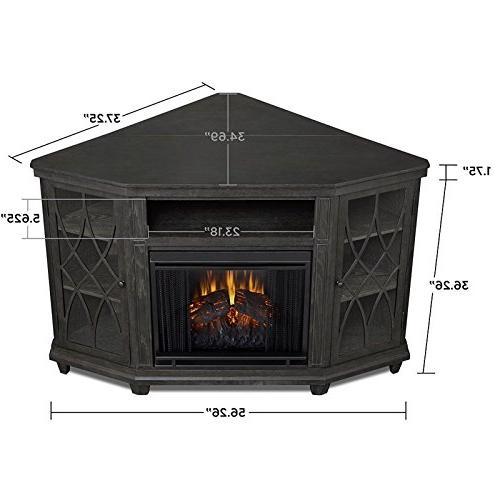 Real Corner Fireplace Gray