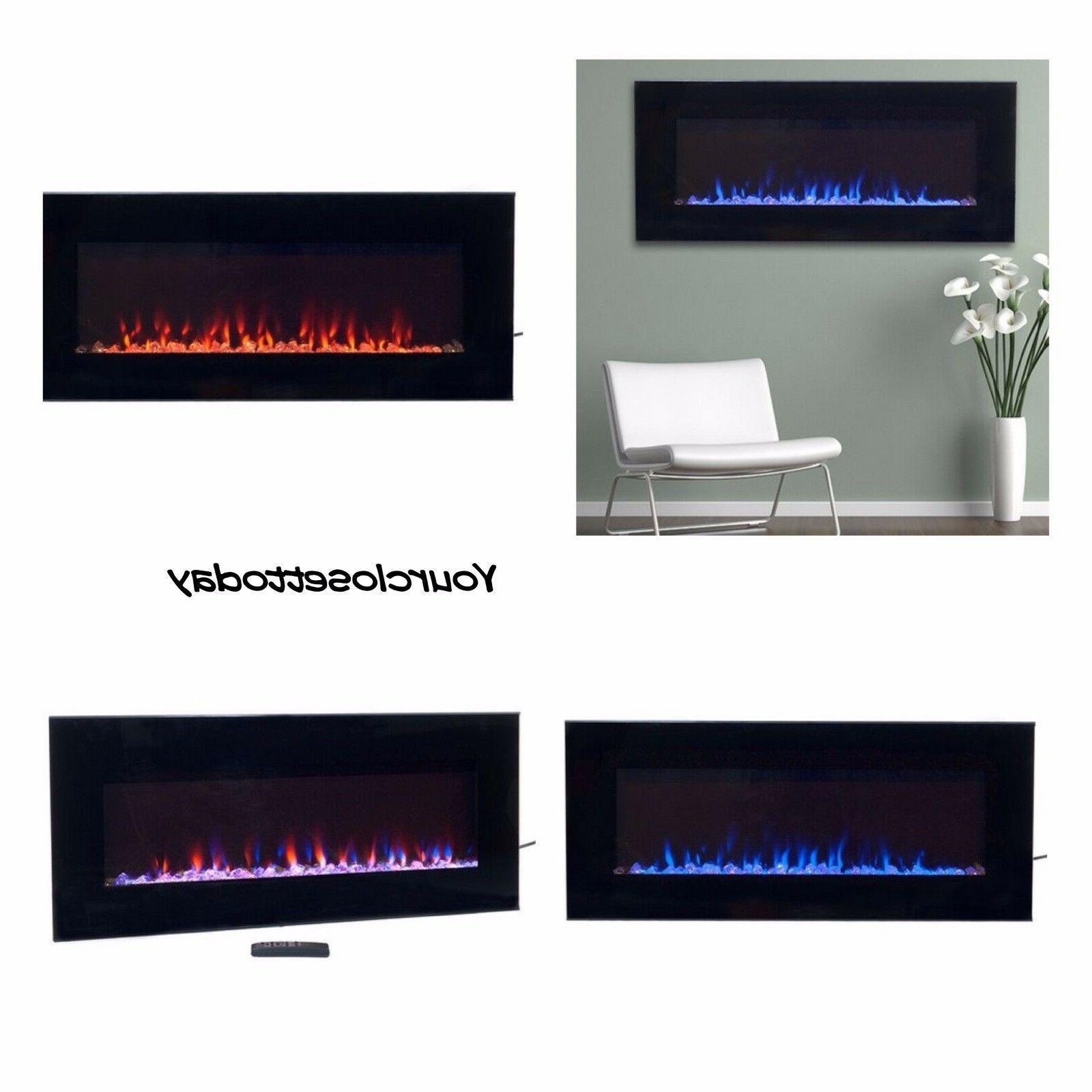 NW Modern Electric Fireplace LED Glass Mount Heater