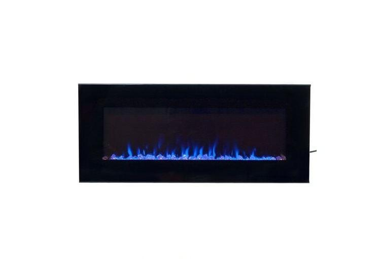 NW Black Fireplace LED Blue Glass Heater
