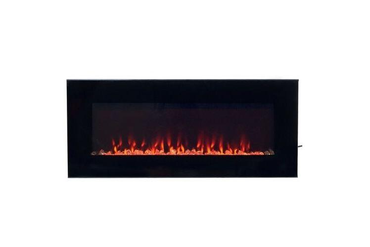 NW Modern Black Electric Fireplace Glass Remote Heater