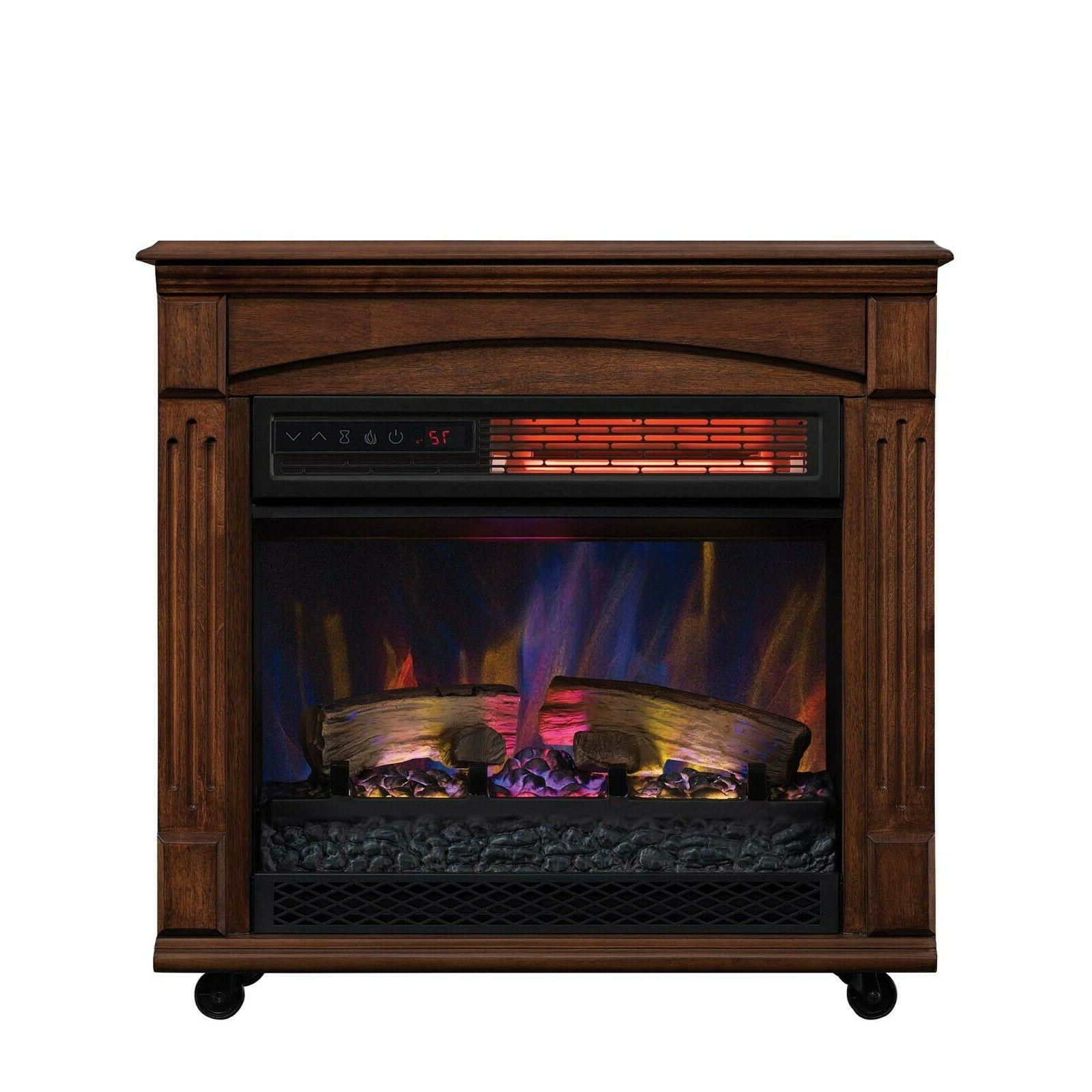 Rolling Fireplace Mantle Electric Fireplace Mobile Portable