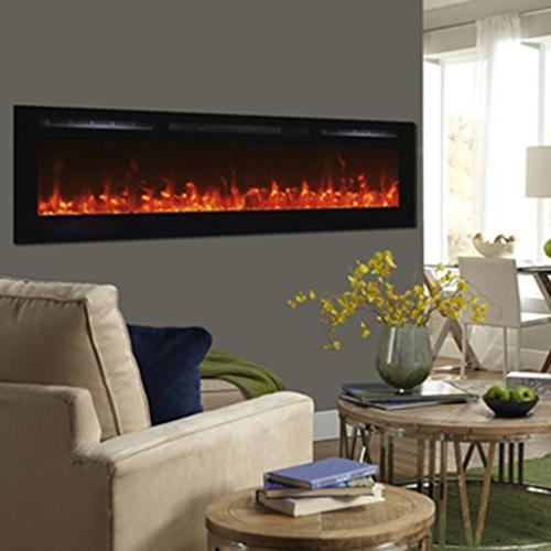 Touchstone - Sideline Electric Fireplace - 72 Inch Wide in Wall - Flame 3 Flame 1500/750 Watt Heater - & Hearth Options