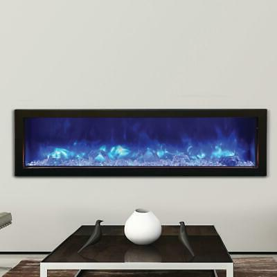 Slim Indoor/Outdoor Electric Fireplace with black steel Surr