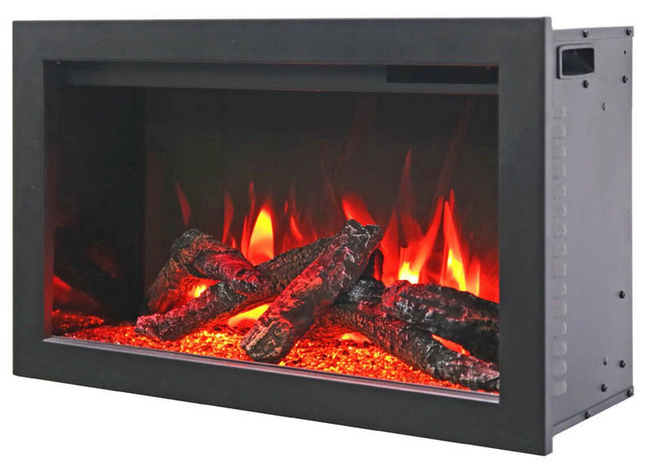 """Amantii TRD 38"""" Electric Fireplace with Log Set & Canopy"""
