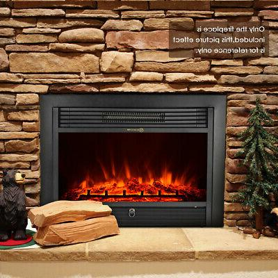 "Large 28.5"" Electric Heater Fireplace Insert Wall Mount with"