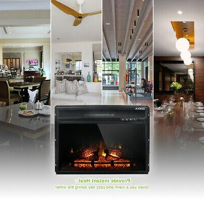 Wall Insert 1400W Electric Fireplace Heat w/Remote LED Flame Timer Heater