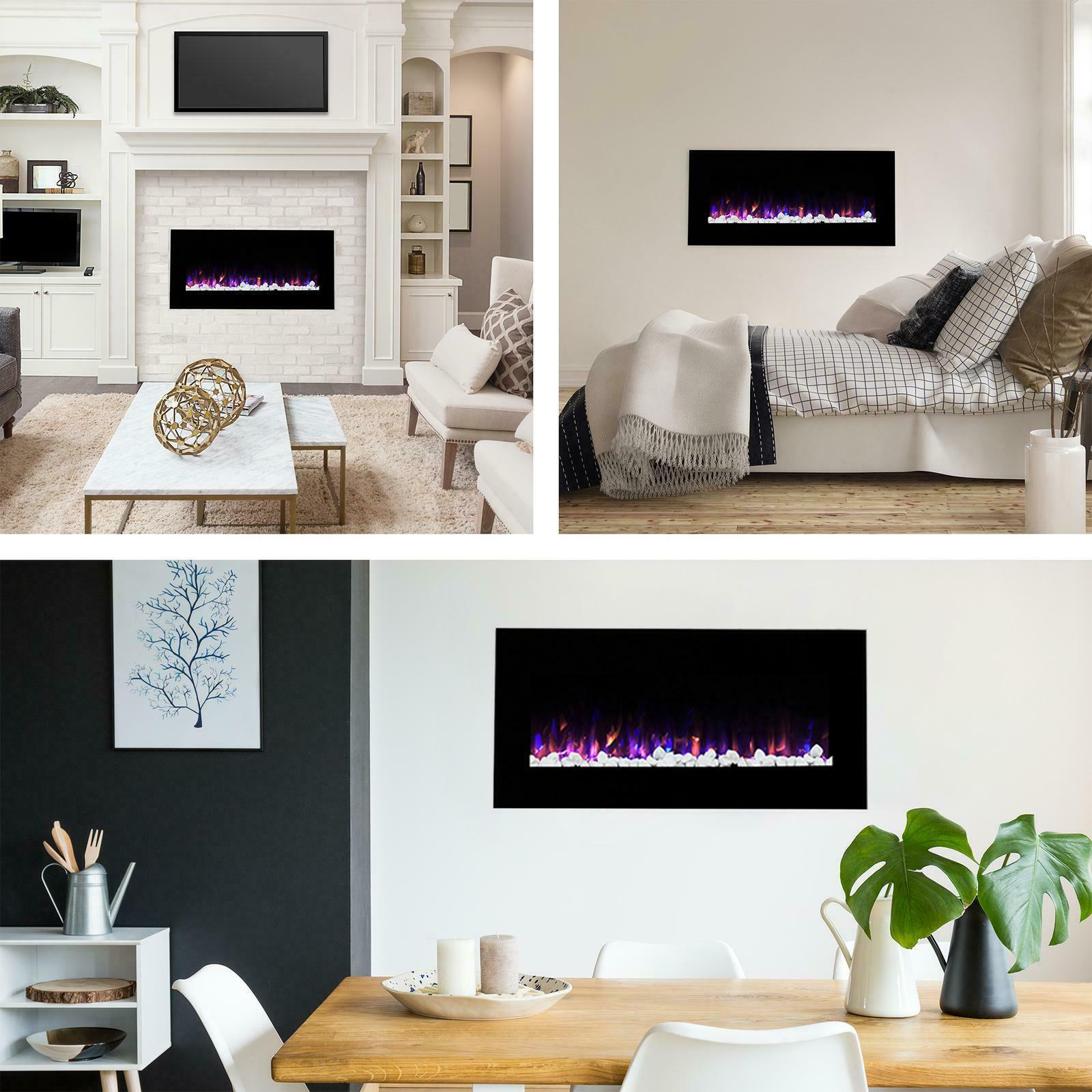 """Wall Mounted LED Fire Electric Home Fireplace 36"""" Display Ic"""