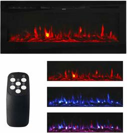 Large Electric Fireplace Wall Mount Home Heater Flame Log wi