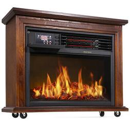 Large Room Electric Infrared Fireplace Heater Wood Mantel In