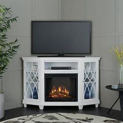 Real Flame Lynette Corner Fireplace TV Stand in Gray