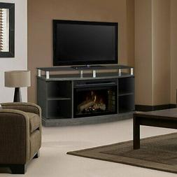 Bowery Hill Media Electric Fireplace in Silver Charcoal