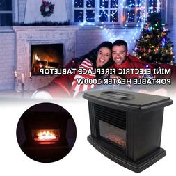 Mini Electric Fireplace Stove Heater Portable Tabletop Indoo