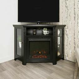 "Modern Corner Electric Fireplace 55"" Wooden TV Stand Enterta"